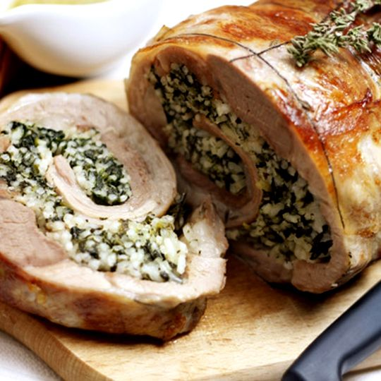Rolled Roast Lamb Breast With Leek And Chestnut Stuffing